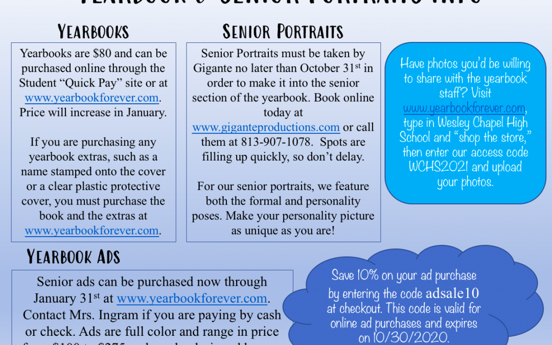 Yearbook and Portrait Information 2020-21